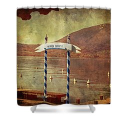 Waiting For The Taxi Boat Shower Curtain by Barbara Orenya