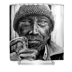 Man With Cane Shower Curtain by Geni Gorani