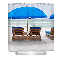 Shower Curtain featuring the photograph Panama City Beach Florida Empty Chairs by Vizual Studio