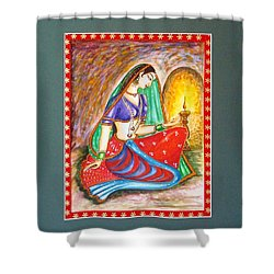 Shower Curtain featuring the painting Waiting  by Harsh Malik
