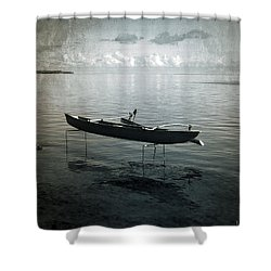 Shower Curtain featuring the photograph Waiting In Blue by Lucinda Walter