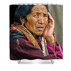 Waiting In Dharamsala For The Dalai Lama Shower Curtain by Don Schwartz