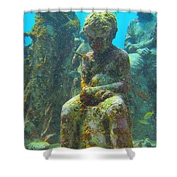 Waiting Patiently For The Coral To Grow Up Shower Curtain by Halifax photographer John Malone