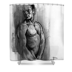 Shower Curtain featuring the drawing Waiting by Paul Davenport