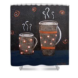 Wake Up And Smell The Coffee Shower Curtain by Suzanne Theis