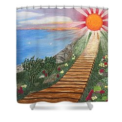 Shower Curtain featuring the painting Waking Up Love by Cheryl Bailey