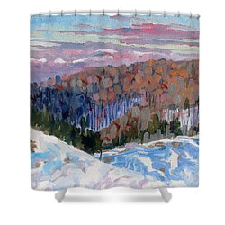 Waking Up Shower Curtain by Phil Chadwick