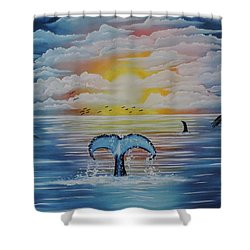 Shower Curtain featuring the painting Wale Tales by Dianna Lewis