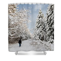 Walk In The Winterly Forest With Lots Of Snow Shower Curtain by Matthias Hauser