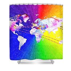 Walk The World Shower Curtain by Daniel Janda