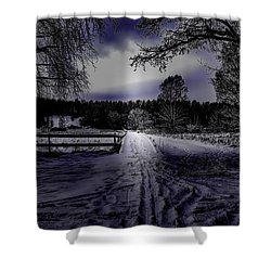 Shower Curtain featuring the photograph #walk-way In A Pinhole Presentation Over Dyarna A #winter #day Near City Enkoping Sweden January 201 by Leif Sohlman