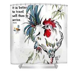 Walkabout With Buddha Quote I Shower Curtain by Bill Searle