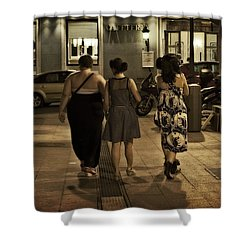 Walking At Night - Madrid Spain Shower Curtain by Mary Machare