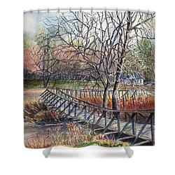 Walking Bridge Shower Curtain by Janet Felts