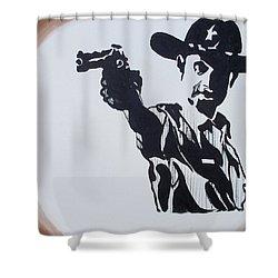 Walking Dead Rick Shoots Shower Curtain by Marisela Mungia