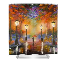Shower Curtain featuring the painting Walking In The Rain by Chris Fraser
