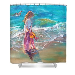 Walking In The Waves Shower Curtain by Karen Kennedy Chatham