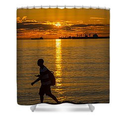 Walking Into The Sunset Shower Curtain by Sabine Edrissi
