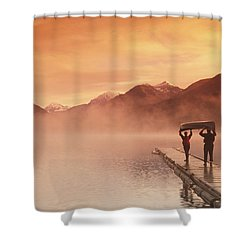 Walking On Dock Robe Lake  Sunrise Sc Shower Curtain by Michael DeYoung