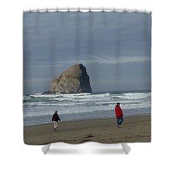 Shower Curtain featuring the photograph Walking On The Beach by Susan Garren