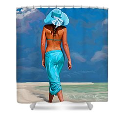 walking on the beach V Shower Curtain