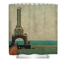Walking On The Breakwater Shower Curtain by Mary Machare