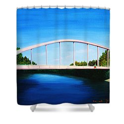 Walking On The Bridge  Shower Curtain