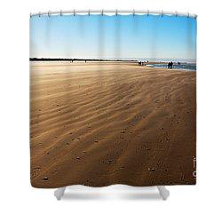 Walking On Windy Beach. Shower Curtain