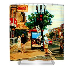Walking Past Rialto And The Kit Kat Gift Shop Towards Pascals On Blvd. Park Avenue Montreal Scenes Shower Curtain by Carole Spandau