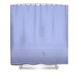 Walking The Dog In The Mist Shower Curtain