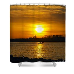 Walking The Dog Shower Curtain by Joe Geraci