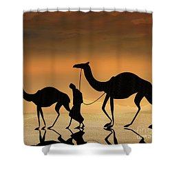 Walking The Sahara Shower Curtain by Bedros Awak