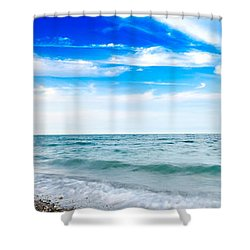 Shower Curtain featuring the photograph Walking The Shore - Extended by Steven Santamour