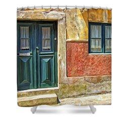 Walking Through Vila De Conde Shower Curtain by Michael Pickett
