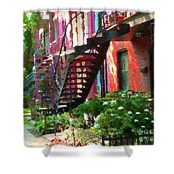 Walking Verdun Spiral Staircases Graceful Circular Steps Montreal Colorful Scenes Carole Spandau  Shower Curtain by Carole Spandau