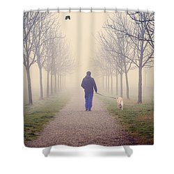 Walking With The Dog Shower Curtain