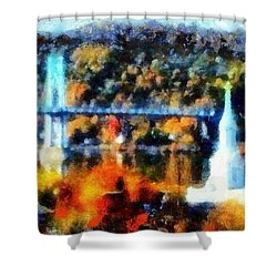 Walkway Over The Hudson Autumn Riverview Shower Curtain by Janine Riley