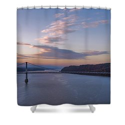 Walkway Over The Hudson Dawn Shower Curtain by Joan Carroll