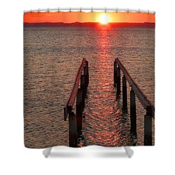 Shower Curtain featuring the photograph Walkway To The Sun by Alan Socolik