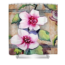 Wall Flowers Shower Curtain by Flamingo Graphix John Ellis