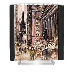 New York Wall Street - Fine Art Painting Shower Curtain