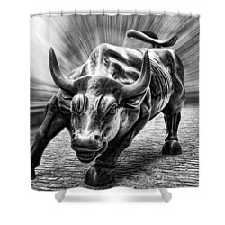 Wall Street Bull Black And White Shower Curtain
