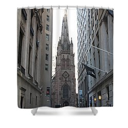Wall Street Leading To Trinity Church Shower Curtain