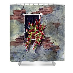 Wall With Red Flowers Shower Curtain by Sam Sidders