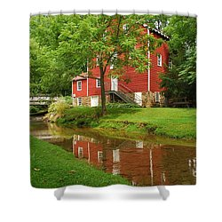 Wallace Cross Grist Mill Reflections Shower Curtain by Bob Sample