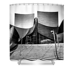 Walt Disney Concert Hall In Black And White Shower Curtain by Paul Velgos