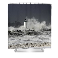 Walton Lighthouse Takes A Beating Shower Curtain