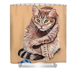 Shower Curtain featuring the painting Want To Play by Anastasiya Malakhova
