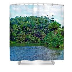 Waoleke Pond Forest Shower Curtain