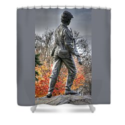 Shower Curtain featuring the photograph War Fighters - 26th Pennsylvania Emergency Militia Infantry-b1 Defending The Town Of Gettysburg by Michael Mazaika
